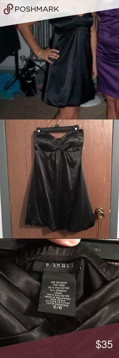 Formal black strapless bubble dress Black satin strapless bubble dress. Purchased from Macy's. Has crosshatching pattern across chest. Worn twice. Dresses Strapless