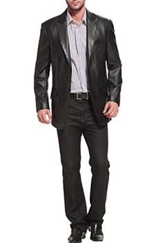 "BGSD Men's ""Ben"" Two-Button Peak Lapel Lambskin Leather Blazer at Amazon Men's Clothing store: Leather Outerwear Jackets"