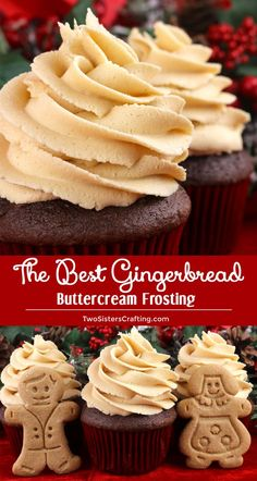 The Best Gingerbread Buttercream Frosting - a creamy frosting infused with iconic Christmas Gingerbread flavor. Great on so many different Holiday desserts! This yummy homemade butter cream frosting will take your Christmas treats to the next level, we pr Frosting Recipes, Cupcake Recipes, Baking Recipes, Cupcake Cakes, Dessert Recipes, Buttercream Cupcakes, Snacks Recipes, Moist Cupcakes, Yummy Cupcakes