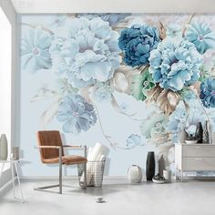 Oil Painting Wall Stickers, Blue/Pink Penoy Floral Wall Stickers, Flourishing Flowers Wall Murals