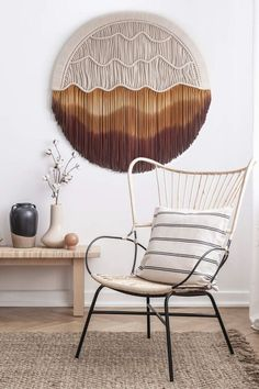 Get this Desert Inspired Round Macrame Wall Hanging from Teddy and Wool - This wall hanging brings a certain calming effect, helping to create an inviting and relaxing space while simultaneously adding interest and personality. Boho Chic Living Room, Living Room Decor, Woven Wall Hanging, Plant Holders, Calming, Color Trends, Contemporary, Modern, Decorating Your Home
