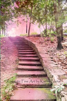 Nature Photography Dreamy Fantasy Pink Stairs Pink by KathyFornal, $28.00