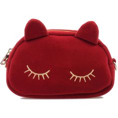 Wine Red & Gold Embroidered Suede Sleeping Kitty Purse ($30) ❤ liked on Polyvore featuring bags, handbags, accessories, red, burgundy handbag, shoulder strap purses, cat handbag, burgundy purse and striped handbag