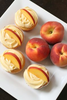 Peach Cupcakes with Peach Cream Cheese Frosting / / Week of Menus