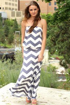 Grey & White Skies Drop Waist Chevron Maxi Dress