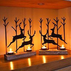 Set Of Two Reindeer Tealight Decorations - nativity scenes & figures