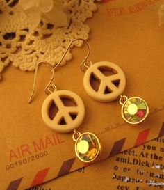 White Peace Sign Crystal Dangle Earrings