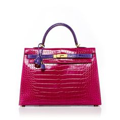 Heritage Auctions Special Collection     35cm Shiny Rose Shocking &... ($160,000) ❤ liked on Polyvore featuring bags, handbags, pink, rose purse, color block handbags, hermes handbags, croc handbags and pink handbags