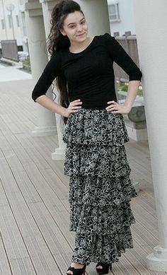 Womens modest ruffle tiered floral print skirts! - Apostolic Clothing