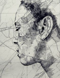 Mapped Face // Ed Fairburn on Graphic Mixed Media. Ed Fairburn has recently produced new works that live in a magical place between sculpture and drawings. Ed Fairburn, Art Inspo, Kunst Inspo, Art And Illustration, L'art Du Portrait, Art Et Design, Art Du Monde, Art Carte, A Level Art