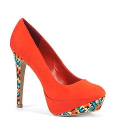 Sunset Red (Red) Exclusive Red Naughty Platform Court Heels | 252163964 | New Look