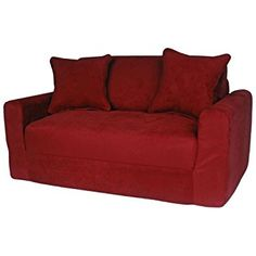 Fun Furnishings Micro Suede Sofa Sleeper with Pillows, Red Sofa Couch, Couch Set, Chair Bed, Couch Furniture, Chesterfield Sofa, Micro Suede Couch, Suede Sofa, Contemporary Sofa, Modern Sofa
