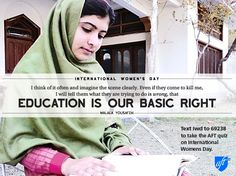 American Federation of Teachers statement dedicating International Women's Day to Malala's courage and bravery: http://www.aft.org/newspubs/press/2013/030813.cfm