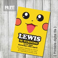 Party Invitations Pikachu Pokemon  5x7   by CreativeSparkStudio, £10.00