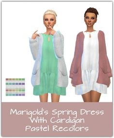 Spring Dress With Cardigan Recolors at Maimouth Sims4 via Sims 4 Updates