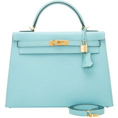 Pre-Owned Hermes Blue Atoll Epsom Sellier Kelly 32cm Gold Hardware ($19,445) ❤ liked on Polyvore featuring bags, handbags, blue, real leather handbags, blue leather handbags, real leather purses, leather handbags and multi colored leather handbags