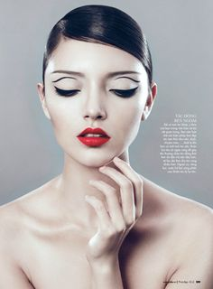 Get this look with some hairspray, a good liquid eye-liner and Aveda's NEW red lip color!