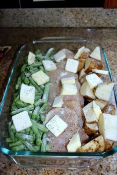 Green bean, chicken, and potato bake- easy Sprinkle with EVOO and dry ranch. Bake 350 1 hr.             #baked #chicken #breast #recipes