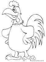 Mewarnai Gambar Kartun Ayam Jantan
