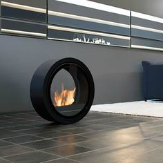 "Fabulous Round Stainless Steel Ethanol Burning ""Roll"" Fire by Conmoto on HomePortfolio"