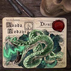 « Unforgivable curses 1/3 - Avada Kedavra #harrypotter #art #hpart #nagini #avadakedavra #curse #drawing #sketchbook #illustration Reposting this one… »