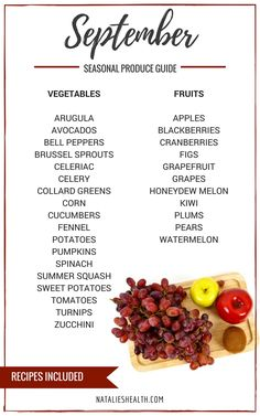 Seasonal Produce Guide What's in Season SEPTEMBER is a collection of the best fruits, veggies, and recipes for the month of September. #FALL #SUMMER #SEASONAL #FRUITS #VEGGIES #GUIDE   natalieshealth.com