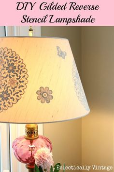 DIY Gilded Reverse Stencil Lampshade Teske Goldsworthy at View Along the Way Home Crafts, Diy Crafts, Recycled Crafts, Diy Luminaire, Light Crafts, Lamp Light, Diy Light, Light Table, Lamp Shades