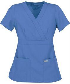 eea3a39b09a 3 Pocket Mock Wrap - Ciel Blue Greys Anatomy Scrubs, Medical Scrubs, Wrap  Tops. Scrub Shopper