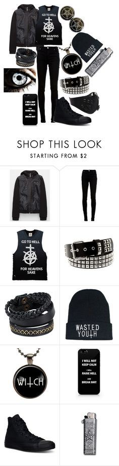 """Untitled #768"" by dino-satan666 ❤ liked on Polyvore featuring Full Tilt, dVb Victoria Beckham, Hot Topic, Pieces, Converse, men's fashion and menswear"