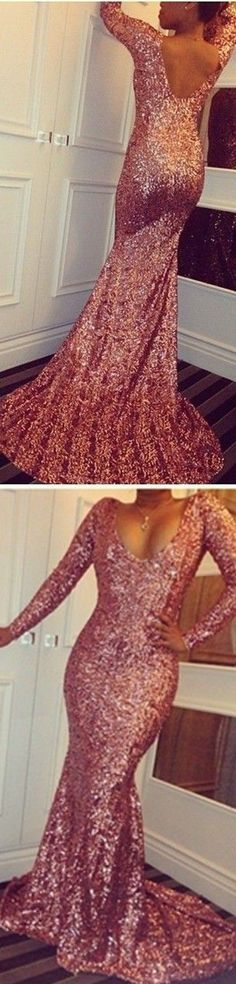 Sparkly Rose prom dresses,Gold prom dresses Mermaid Formal Evening Dresses Scoop Long Sleeves Open Back Sweep Train Aso Ebi Country Prom Party Gowns Cheap Bridesmaid dresses