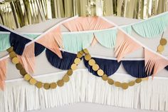 Tissue Garland Party Backdrop || Tissue Garlands || Peach, Mint, Navy and Gold on Etsy, $50.00