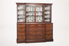 English George III Mahogany Secretary Breakfront. #antiques #furniture   www.linkauctiongalleries.com Secretary, China Cabinet, Auction, English, Detail, Antiques, Furniture, Home Decor, Homemade Home Decor