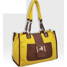 Isabelle HANDBAGS Yellow and Brown Turnlock Fashion Purse : Fashion Purses