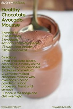 Healthy Chocolate Avocado Mousse. yummmmm