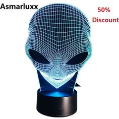 Alien Head Hologram Illusion Unique Lamp Acrylic Night Light With Touch Switch Luminaria Lava Lamp Changing Deco Gift Cool Lava Lamps, Best Night Light, 3d Hologram, 3d Optical Illusions, Unique Lamps, Bulb, Night Lights, Gift, Virtual Reality