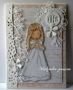 Malgodia Passion: Jeszcze komunijne kartki First Communion Cards, Baptism Cards, First Holy Communion, Baby Girl Clipart, Communion Favors, Christian Crafts, Card Box Wedding, Sympathy Cards, Baby Cards