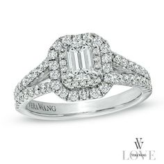 Vera Wang LOVE Collection 1-1/3 CT. T.W. Emerald-Cut Diamond Split Shank Frame Engagement Ring in 14K White Gold - Zales