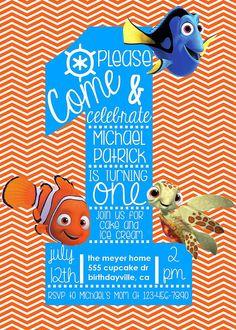 Finding Nemo Birthday Invitation CustomDigital by SoSimplyDesign