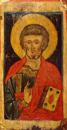 Icon: St Peter  Russia, Second half of the 13th century  This icon formed part of an old kind of iconostasis with frontal, waist-length depictions of figures in the Deisis Tier