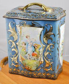 Vintage Blue Tea Tin with Greek Garden Scene by WhositsandWhatnots,