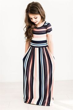 These Multi-Colored Stripe Maxi are so adorable, your child will want one in every color! They are so comfortable and made from the softest fabric! Pair this dress with cute booties or sandals in the summer.