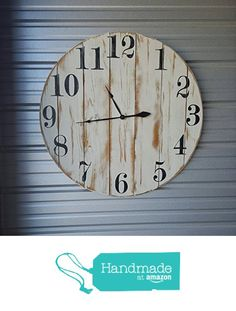 "18in ""Shannon"" reclaimed wood wall clock, fixer upper style clock, farmhouse…"