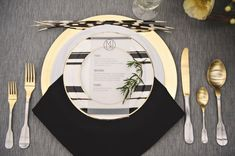 Black and gold wedding ideas...black or gold napkins, garland, and table overlays as well as chargers, napkin rings, coasters, and wine covers available at alwayselegant.com