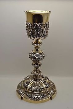 """+ World Class Antique Baroque Chalice + All Embossed French Silver + 12 1/2"""" ht."""