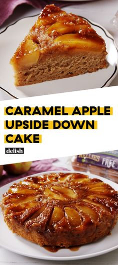Make sure you use a round pan that doesn't leak Caramel Apple Upside Down Cake Is The PERFECT Fall DessertDelish Apple Dessert Recipes, Köstliche Desserts, Desserts Caramel, Caramel Recipes, Cooking Apple Recipes, Healthy Recipes, Light Desserts, Simple Recipes, Health Desserts