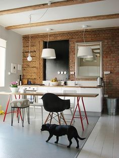 IKEA VIKA LERBERG trestle legs spray painted red, kitchen, white pendant lights, wooden walls, white cabinetry