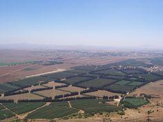 Fronteira das Colinas de Golã entre Israel e a Síria. As Colinas de Golã acabam (e a Síria começa), onde as terras cultivadas terminam. No fundo, está a cidade deserta de Quneitra na Síria. Os edifícios brancos à direita são principalmente edifícios da ONU.  Fotografia: Masterpjz9.