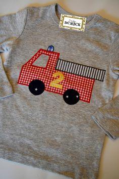 """Langarmshirts - Geburtstagsshirt, Kindershirt """"Feuerwehrmann"""" - ein Designerstück von FraeuleinSchick bei DaWanda"""