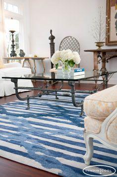 Custom Cool Ikat Stripe Rug - Blue