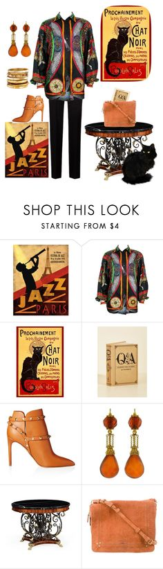 """""""Chat Noir"""" by kindlefraud ❤ liked on Polyvore featuring Hermès, Valentino, Jonathan Charles Fine Furniture, Jérôme Dreyfuss and Ashley Pittman"""